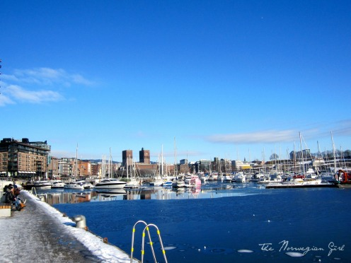 aker brygge in winter